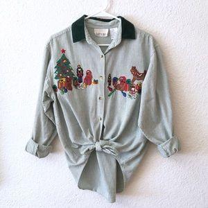 Vintage 90s Christmas Embellished Holiday Blouse M